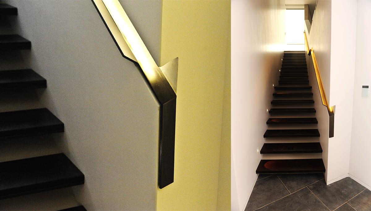 מדרגות ברזל ומעקות ברזל מוארות